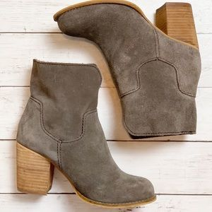 Splendid Suede Taupe Block Heel Ankle Booties